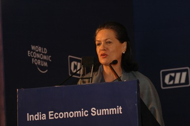 Sonia Gandhi by world economic forum fotopedia