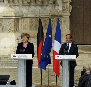 Angela Merkel y François Hollande. Extraída de Wikipedia. Creative Commons